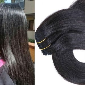 "18"" Human Hair Clip in Extensions 70 Grams #1B"